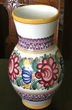 """10"""" Tall Portuguese Pottery Vase. Gemetric Bands And Floral."""