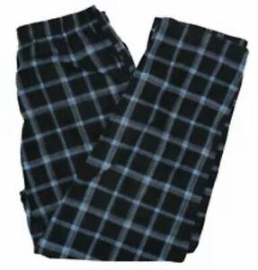 MACY'S Perry Ellis Men's Relaxed-Fit Plaid Fleece Pajama Pants Blue Black Small