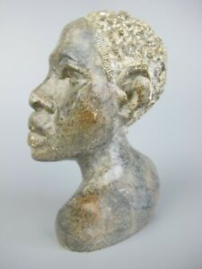 """Vintage African Bust Head / Carving / Statue Sculpture. Marble stone. 4.5"""""""