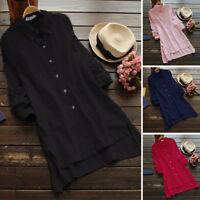 Women Long Sleeve Casual Asymmetrical Blouse Shirt Lapel Tops Oversize Tops Plus