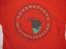 Vintage Rap Hip Hop Africa Generations of Civilization Puff Print Red T Shirt M