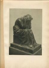 ANTIQUE SORROW MOURNING WEEPING MOTHER DEATH OF A CHILD PORTRAIT IN BRONZE PRINT