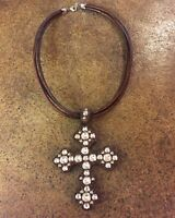 The Rowdy Cowgirl Genuine Leather Studded Cross Necklace - Made in USA