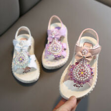 Children Kids Baby Girls Fashion Open Toe Flower Sandals Pearl Princess Shoes US