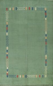 Vegetable Dye Bordered Green Gabbeh Oriental Area Rug Hand-knotted Wool 6x10 ft