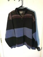 Vintage Woolrich Women's Fair Isle Half Zip Black Blue 100% Wool Sweater XL