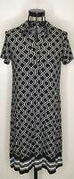 Ladies MAX STUDIO Black White Geometric Patterned Tunic Dress Extra Small 6 8
