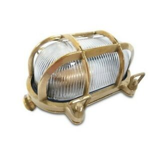 Marine Style Brass Bulkhead Light Complete With Cage, IP54, CE Marked