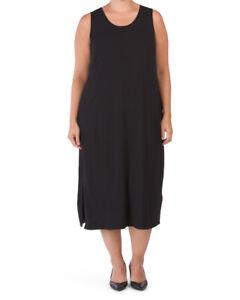 NWT Eileen Fisher Plus Black Viscose Jersey Tank F/L Scoop Neck Dress $218 1X