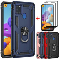 For Samsung Galaxy A21S Phone Case, Ring Stand Cover+Full Glass Screen Protector