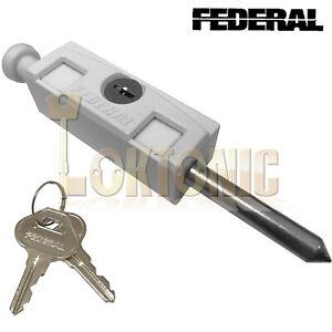 Federal White Sliding Multi Purpose Door Window Patio Security Locking Bolt Lock