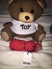 🎁MOSCHINO RED MINI COMPACT UMBRELLA WITH TOY TEDDY BEAR STORAGE BNWT