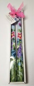 """Tapered Candle Sticks Multicolored Wild Flowers Hand Painted 10"""" Set Of 2"""