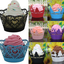 24Pcs Christmas Hollow Lace Cup Muffin Cake Paper Case Wraps Cupcake Wrapper