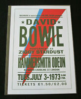 DAVID BOWIE : PERFORMING AS ZIGGY STARDUST ,HAMMERSMITH ODEON :A4 REPO POSTER