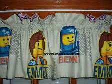 PREMADE Lined VALANCE with EMMIT space BENNY construction LEGO bricks FABRIC