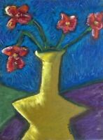 HINKLE Red Flowers abstract oil painting Still life original impressionism