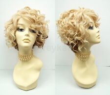 Pre-Trimmed Lace Front Short Curly Blonde Copper Two Tone Wig Heat Resistant