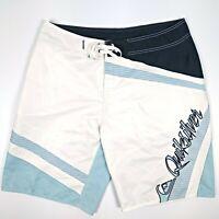 Quicksilver Men's Board Shorts Size 34 White Blue Turquoise Boardshorts