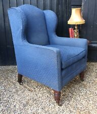 Good Quality Victorian Walnut Frame Wing Back Armchair In Blue Upholstery