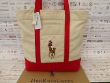 RALPH LAUREN Tote Bag Ladies Large Shoppers Handbag N. Red Cotton Bags New R£115