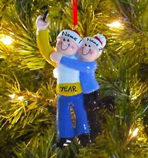 Taking A Selfie Couple - Family Of 2 Personalized Christmas Tree Ornaments