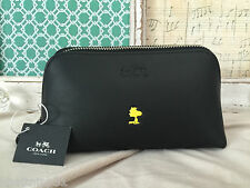 COACH WOODSTOCK PEANUTS LEATHER BLACK COSMETIC CASE LIMITED EDITION SOLD OUT NWT