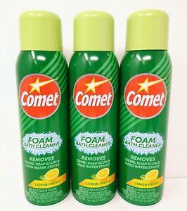 3 Comet Foam Bath Cleaner Spray Lemon Cleaner 19 0z NEW Dark Green Bottle