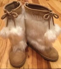 Gap Kids Girls Size 11 White And Tan Brown Faux Fur & Suede Eskimo Boots. NWT