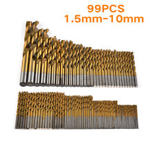 99 Pcs/Set Titanium Coated HSS High Speed Steel Twist Drill Bit 1.5 - 10mm New