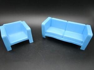 Vintage Mattel BARBIE Furniture Blue Retro Mod Couch Love Seat & Chair 1973