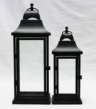 Large and medium Black metal Set of 2 lanterns Indoor outdoor wedding