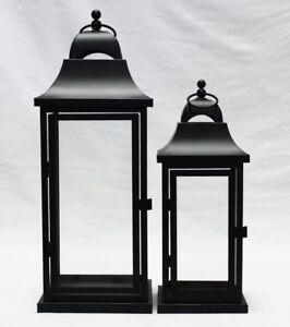 Rectangular shaped Large & medium Black metal Set of 2 lanterns  weddings