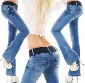 Femmes Bootcut Pattes D'Éléphant Pantalon Jeans 5 Poche Denim Stretch Bleu XS M