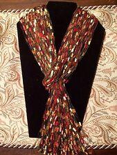 Scarf Fall Yarn Necklace Handmade ladder ribbon trellis Lariat Red Yellow