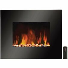 Black Large 1800W Wall Mounted Electric Heater Fire illuminating Real Stones