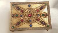 Antique Apollo Studios Jeweled Casket Box Trinket Vanity Box