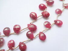 (5 pcs) Small 7-8mm Faceted Briolette Natural Ruby Corundum Precious Gemstones