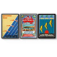 Set of 3 Vintage Australian Travel Art Poster Tourism Print - A3 A2 A1 A0 Framed