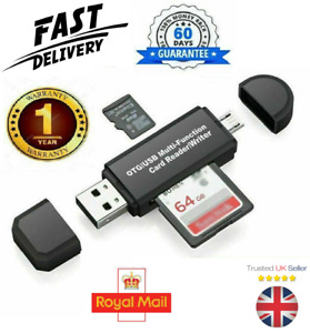 SD Card Reader For Android Phone Tablet PC Micro USB OTG to USB 2.0 Adapter UK
