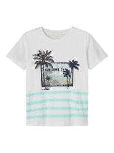 NAME IT Jungen T-shirt NKMVagno weiß Sun Shine on Größe 116 bis 146/152
