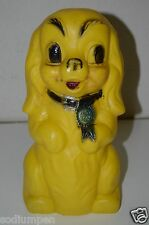 "CUTE Old Vintage Plastic Yellow Dog Show First Place 10"" Piggy Bank Big Eyes HTF"