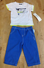 GUESS Kids Baby Boys T-Shirts & pants Set, White/Blue, 3-6M