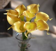 9 Gold Calla Lilies Real Touch Flowers For Silk Wedding Bouquets Centerpieces
