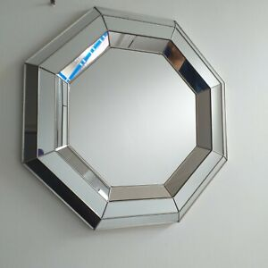 Contemporary Silver Bevelled Octagonal Geometric Mirror Living room mirror  new