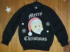 Kids Christmas Jumper. 6-7 Years, Black sweatshirt, Crew neck, Santa emoji,
