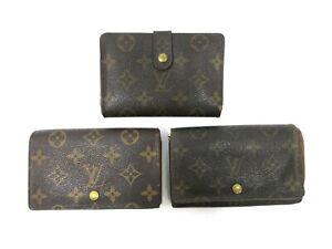 Authentic 3 Item Set LOUIS VUITTON Monogram Wallet PVC Leather 94678