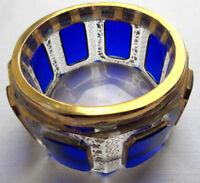 Boite à poudre à cabochons bleus, cristal Baccarat Saint-Louis doré à l'or fin