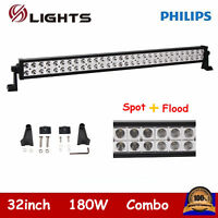32inch 180W LED Light Bar Offroad Truck Spot Flood Combo RZR Ford Philips 30/33