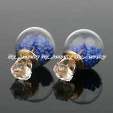 Women Crystal Resin Bulb Disco Ball Beads Inside Stud Earrings Jewelry Ear Charm